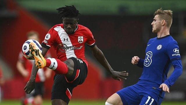 Southampton's Mohammed Salisu, left, and Chelsea's Timo Werner challenge for the ball. AP