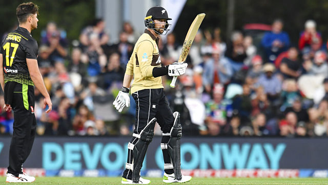 New Zealand's Devon Conway hit 99* in the first T20I between Australia and New Zealand at Hagley Oval in Christchurch. (John Davidson/Photosport via AP)