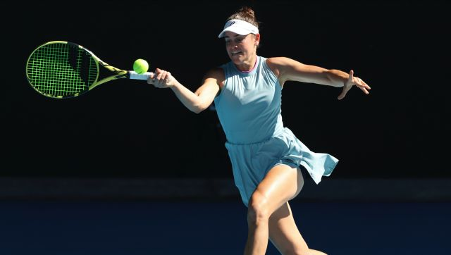 United States' Jennifer Brady hits a forehand return to Karolina Muchova of the Czech Republic during their semifinal match at the Australian Open tennis championship in Melbourne, Australia, Thursday, Feb. 18, 2021.(AP Photo/Hamish Blair)