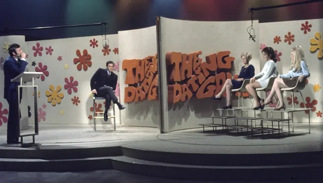 Host Jim Lange with contestants on an episode of The Dating Game, circa 1970  ABC Photo Archives/Getty Images